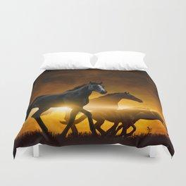 Wild Black Horses Duvet Cover