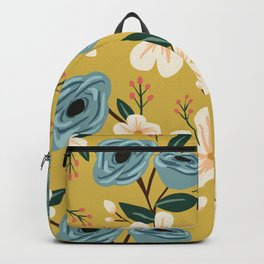 Mustard and Blue Floral Backpack