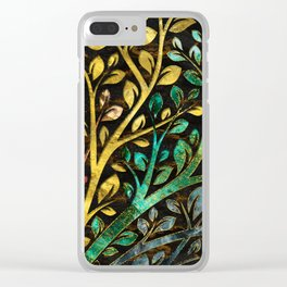 Gemstone Tree with golden decor Clear iPhone Case