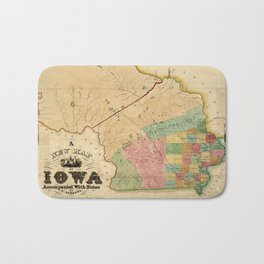 Map of Iowa (1845) Bath Mat