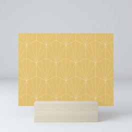 Gisela Geometric Line Pattern - Golden Mini Art Print