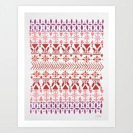 Norwegian Pattern – Reds & Corals Art Print