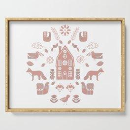 Folk Art Farm 2 // Folk Art Birds, Hand Drawn Leaves, Flowers and Leaves // Pink, white Serving Tray