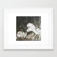 jurassic park Framed Art Prints featuring Jurassic by Erika Marie Burke