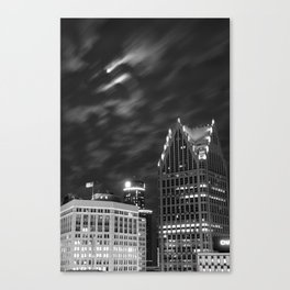Downtown Detroit nder Fall Moonlight Canvas Print
