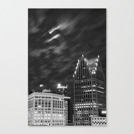 Downtown Detroit nder Fall Moonlight Canvas Print