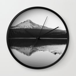 Wild Mountain Sunrise - Black and White Nature Photography Wall Clock