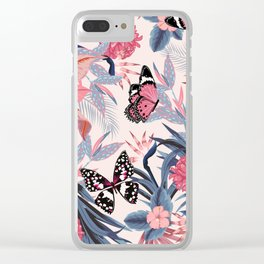 PINK BUTTERFLY PATTERN Clear iPhone Case