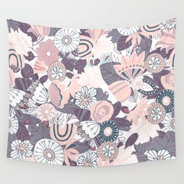 Whimsical Pastel Pink and Purple Floral Wall Tapestry