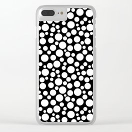 White polka dots on a black background. Clear iPhone Case