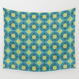 Geometric Circle Pattern Mid Century Modern Retro Blue Green Wall Tapestry