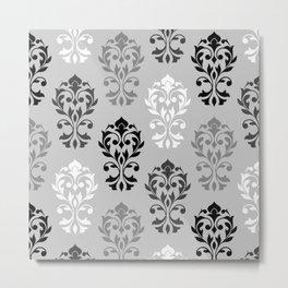 Heart Damask Art I Ptn Black White Greys Metal Print