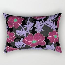 Flowers wine-red on black background Rectangular Pillow