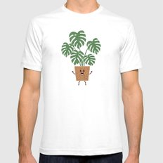 Monstera SMALL Mens Fitted Tee White