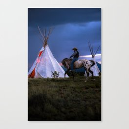 Cowboy on Horse With Teepee Canvas Print