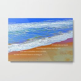 """Waves Of Rincon Beach #2"" with poem: Enduring Ocean Metal Print"