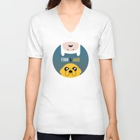 finn and jake V-neck T-shirts featuring Finn and Jake by gaps81
