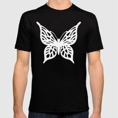 Butterfly White on Black Black MEDIUM Mens Fitted Tee