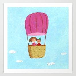 Hot Air Love Ballon Art Print
