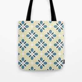 Ruth ink blue trinkets square pattern Tote Bag
