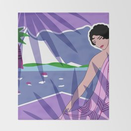 ANACAPRI: Art Deco Lady in Purple and Blue Throw Blanket