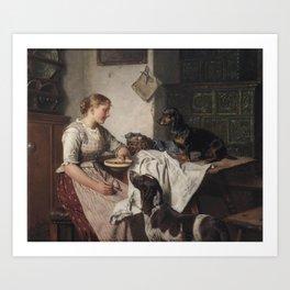 Adolf Eberle  Füttern der Hunde Art Print