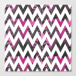 Abstract pink gray white chevron tropical monster leaves Canvas Print