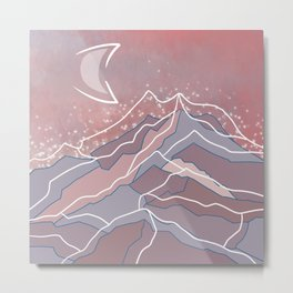 Moon and mountains Metal Print