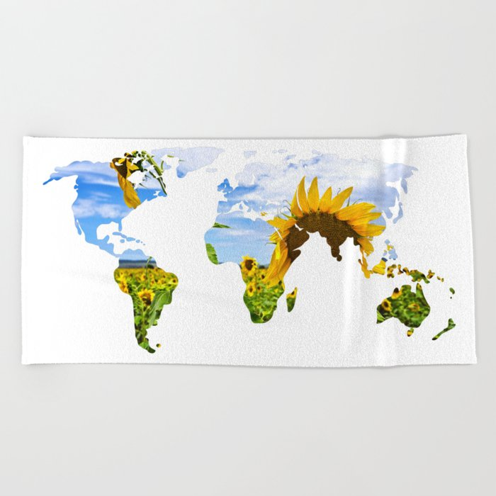 World of Sunflowers Beach Towel