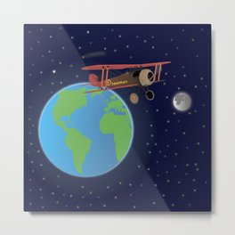 Red Biplane in Outer Space Metal Print