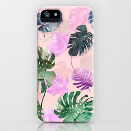 Tropical Leves on Pink iPhone Case