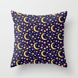 Cute watercolor seamless pattern with stars and moon on dark-blue background Throw Pillow
