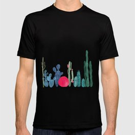 Cactus garden on coral pink T-shirt