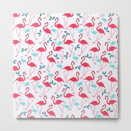 Summer trendy pink teal tropical flamingo floral pattern Metal Print