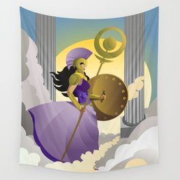 greek roman goddess athena minerva with shield and staff in the sky Wall Tapestry