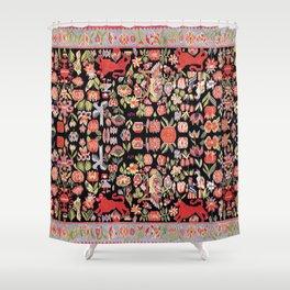 Täcke Antique Swedish Skåne Wedding Blanket Print Shower Curtain