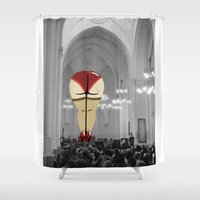 booty Shower Curtains featuring Praise Thee Booty by JESUS MOSES