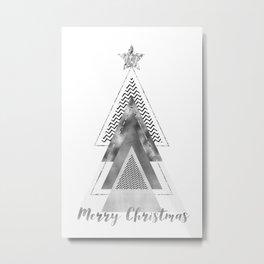 GRAPHIC ART Merry Christmas | silver Metal Print