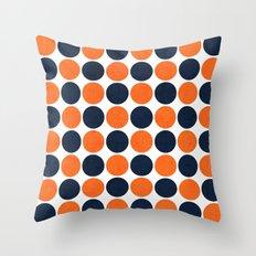 navy and orange dots Throw Pillow