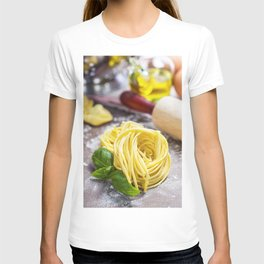 Making homemade pasta on wooden table T-shirt