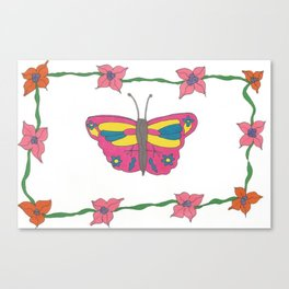 Butterfly and Blooms Canvas Print