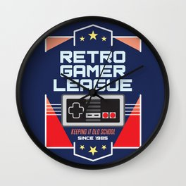 Geeky Gamer Chic Classic Vintage Gaming NES Inspired Vintage Gamer League Old School Cool Wall Clock
