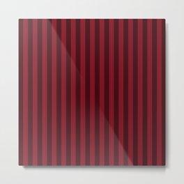 Burgundy Red Stripes Pattern Metal Print