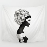 white marble Wall Tapestries featuring Marianna by Ruben Ireland