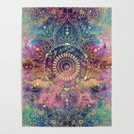 Gold watercolor and nebula mandala Poster