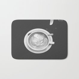 Coffee Perfection - Black and White Bath Mat