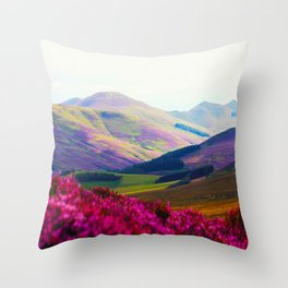 Beautiful Candy Land Fairytale Fantasy Landscape Purple pink Flowers Rolling Hills Moutains Throw Pillow