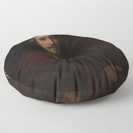 Rembrandt - Man with a Magnifying Glass Floor Pillow