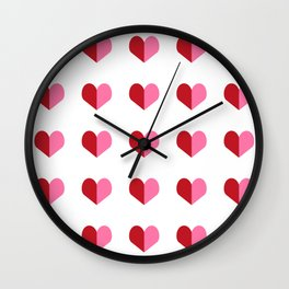 Hearts pink and red minimal cute gifts for valentines day heart pattern for love Wall Clock