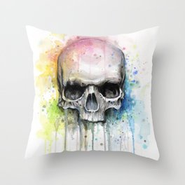Skull Rainbow Watercolor Throw Pillow